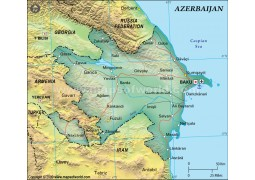 Azerbaijan Political Map, Dark Green