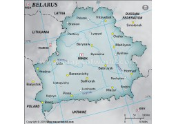 Belarus Physical Map with Cities in Gray Background