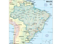Brazil Map, Dark Green
