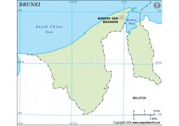 Brunei Outline Map in Green Color
