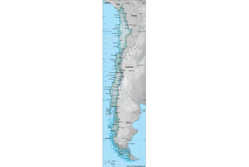 Chile Physical Map with Cities in Gray Color