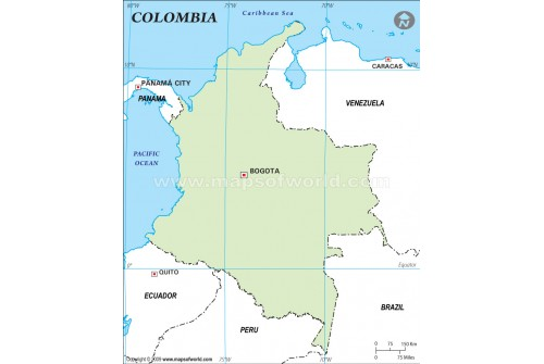 Colombia Outline Map, Green