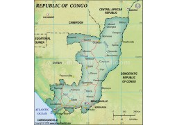 Congo Political Map, Dark Green