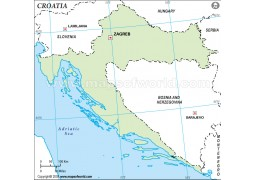 Croatia Outline Map, Green