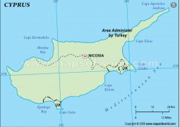 Cyprus Outline Map in Green Color