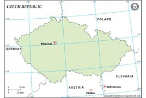 Czech Republic Outline Map in Green Color