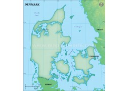 Denmark Blank Map in Dark Green Background