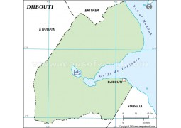 Djibouti Outline Map in Green Color