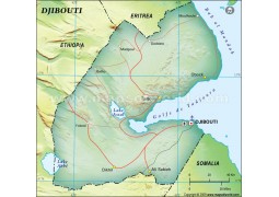 Djibouti Political Map in Dark Green Background
