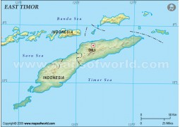 East Timor Blank Map, Dark Green