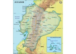 Ecuador Political Map, Dark Green