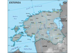 Estonia Physical Map with Cities in Gray Background