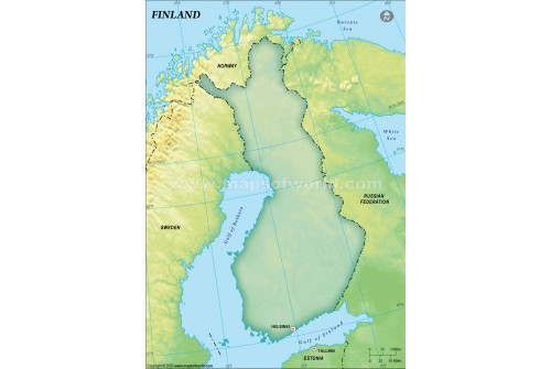 Finland Blank Map, Dark Green