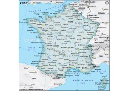 France Physical Map, Dark Green