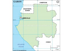 Gabon Outline Map, Green
