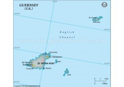 Guernsey Physical Map in Gray Color