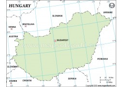 Hungary Outline Map in Green Color