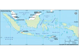Indonesia Outline Map, Green