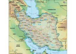 Iran Political Map, Dark Green