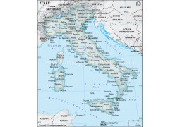 Italy Physical Map, Dark Green