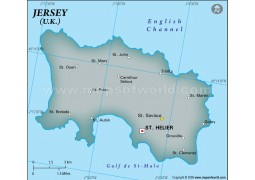 Jersey Physical Map with Cities in Gray Color