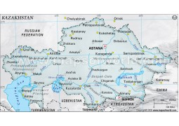 Kazakhstan Physical Map, Gray