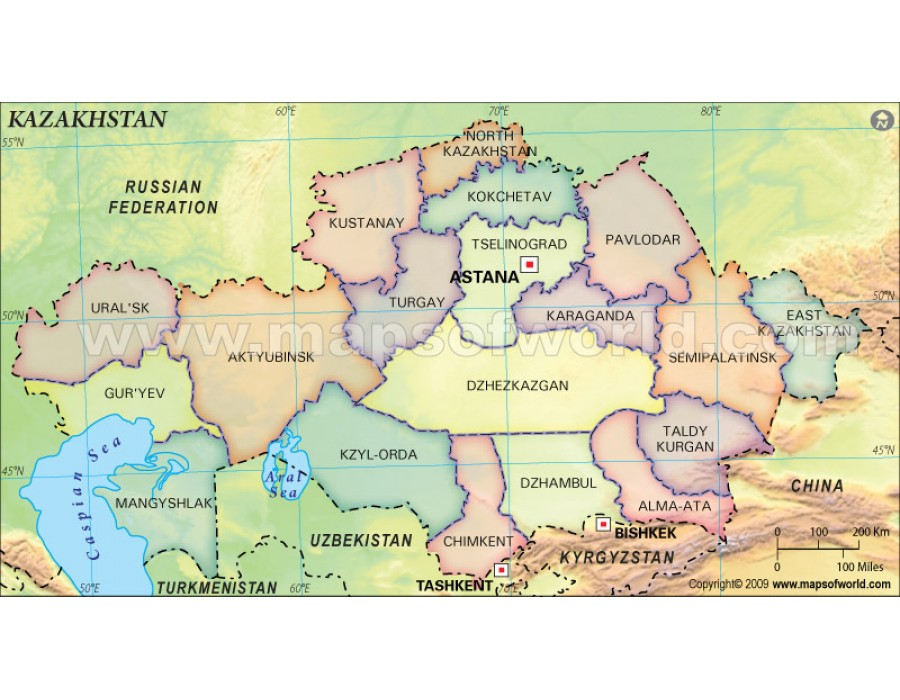 Buy printed kazakhstan map with states kazakhstan map with states publicscrutiny Image collections
