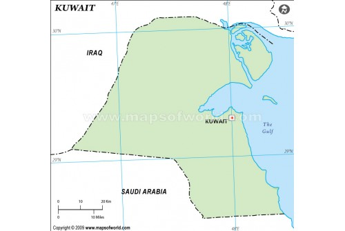 Kuwait Outline Map in Green Color