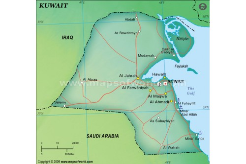 Kuwait Political Map, Dark Green
