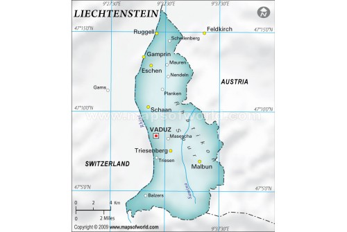 Liechtenstein Physical Map in Gray Background