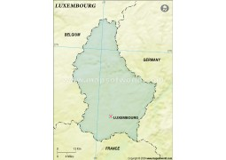 Luxembourg Blank Map, Dark Green