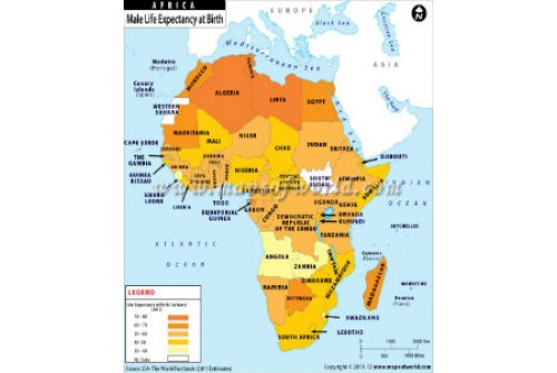 Male Life Expectancy at Birth in African Countries Map