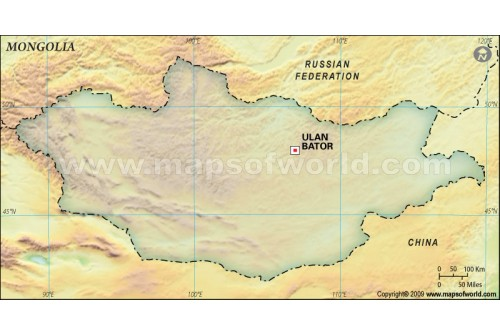 Mongolia Blank Map, Dark Green
