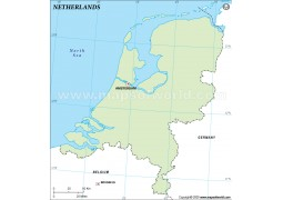 Netherlands Outline Map, Green Color