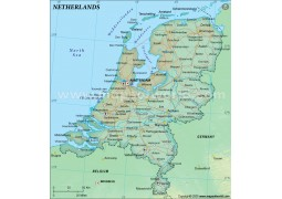 Netherlands Political Map in Dark Green Color