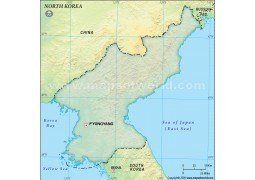 North Korea Blank Map in Dark Green Background