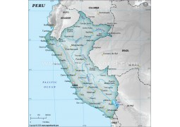 Peru Physical Map, Gray