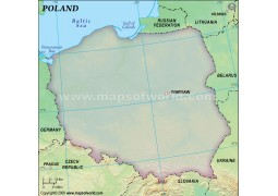 Poland Blank Map in Green Background