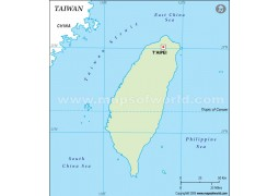 Taiwan Outline Map, Green