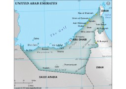 UAE Physical Map with Cities, Gray