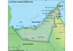 United Arab Emirates Physical Map, Green