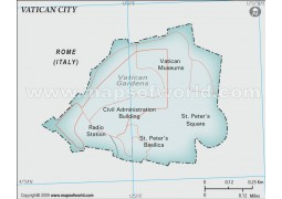 Vatican City Political Map, Gray