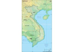 Vietnam Blank Map, Dark Green