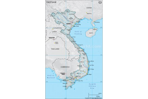 Vietnam Political Map, Gray