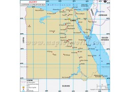 Egypt Latitude and Longitude Map