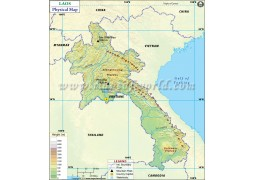 Laos Physical Map