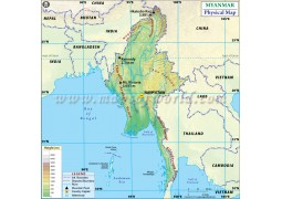 Myanmar Physical Map
