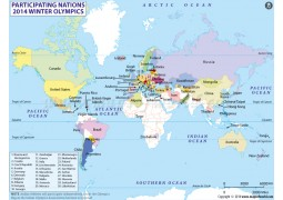 2014 Winter Olympics Participating Countries Map