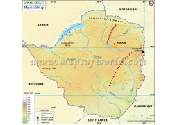 Zimbabwe Physical Map