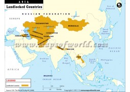 Map of Landlocked Countries of Asia